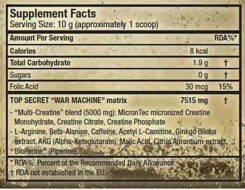 etiqueta informacion nutricional war machine scitec