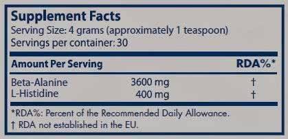 Información nutricional aminoácido Beta Alanina de Scitec Nutrition