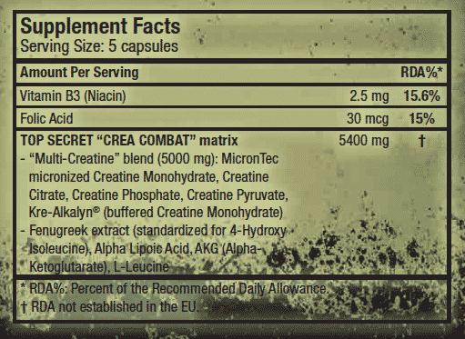 Información nutricional suplemento deportivo creatina Crea Combat 150 cápsulas