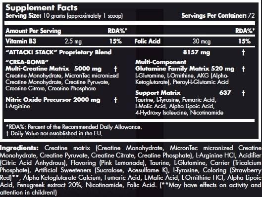 etiqueta informacion nutricional attack 2.0