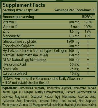 Información nutricional protector articulaciones Heavy Duty 90 cápsulas