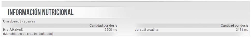 Información nutricional creatina Mega Kre-Alkalyn de Scitec Nutrition