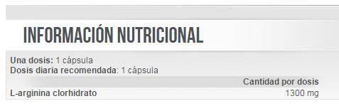 Información nutricional del suplemento Mega Arginine de Scitec Nutrition