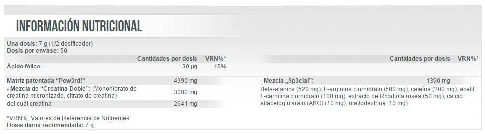 Información nutricional Pow3rd 2.0