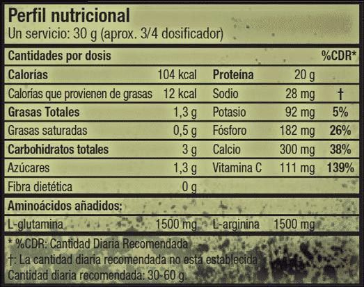 etiqueta informacion nutricional warrior juice muscle army scitec nutrition
