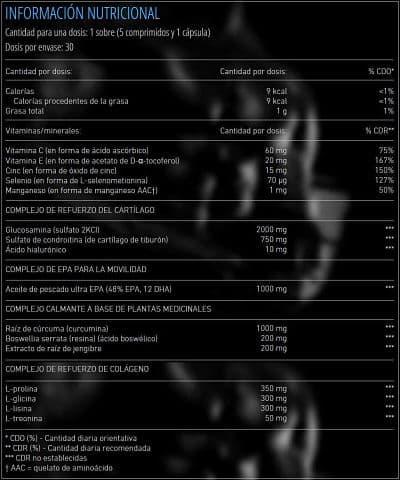 Información nutricional protector articulaciones Arthro Pak Pro 30 bolsitas de Mex