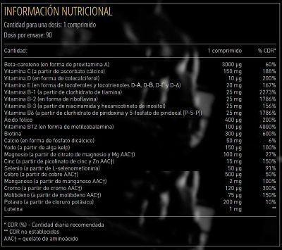 informacion nutricional suplemento