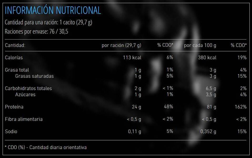 informacion nutricional suplemento deportivo