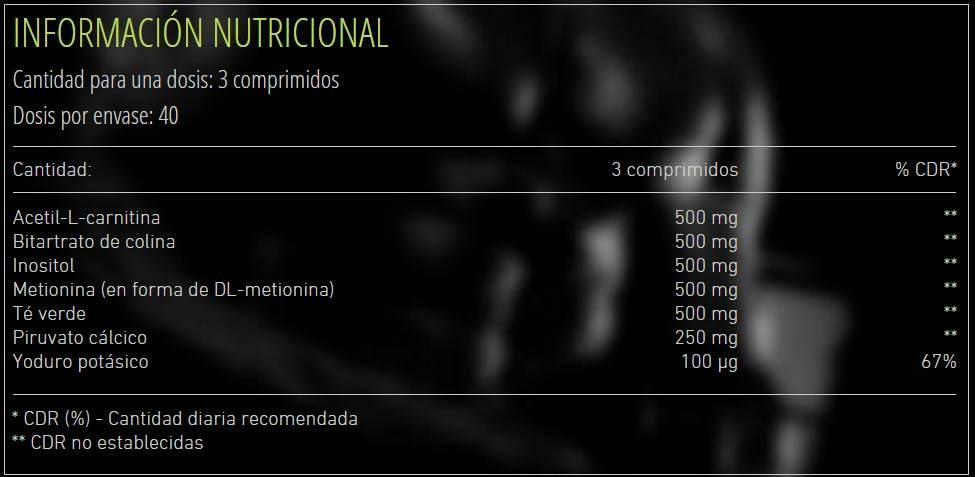 informacion nutricional producto suplemento deportivo
