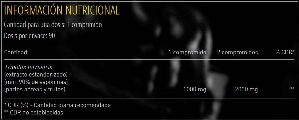 Etiqueta información nutricional Pure Tribulus 1000 de Mex Muscle