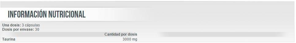 Información nutricional aminoácido Taurine 90 cápsulas