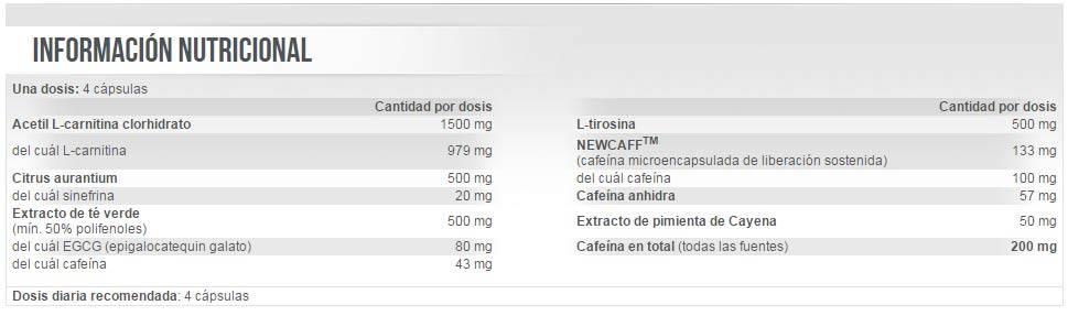 Información nutricional Turbo Ripper De Scitec Nutrition