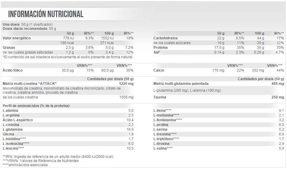 información nutricional volumass 35 professional