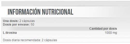 Información nutricional aminoácido Tyrosine 100 cápsulas de Scitec Nutrition