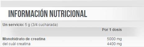 Información nutricional Ultrapure Creatine Monohydrate potenciador masa muscular