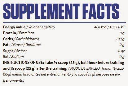 Información nutricional suplemento carbohidratos Carborelease
