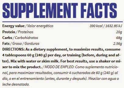 Información nutricional aumentador de peso Critical Mass de Bigman