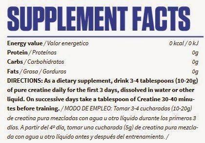 Valor nutricional de Creatine 50gr
