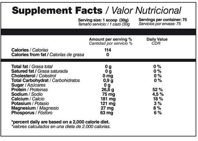valor nutricional suplemento deportivo