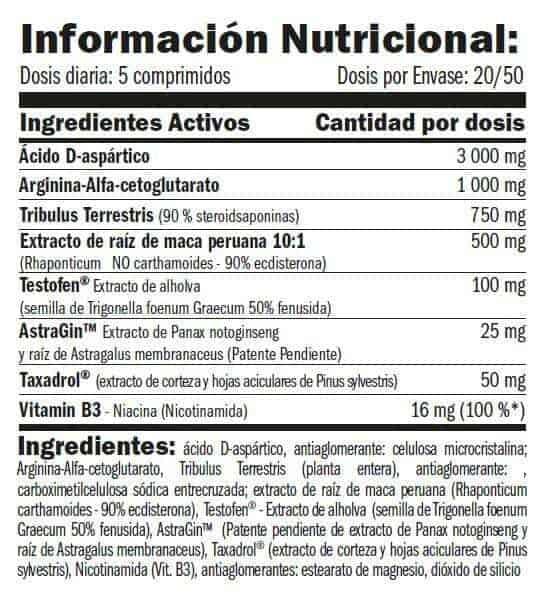 Información nutricional de Testofuel tu aumentador de testosterona de Amix Pro