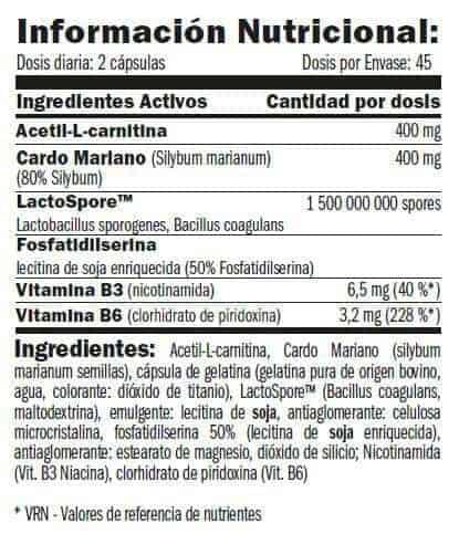 Información Nutricional de Hepacor Protector Hepático de Amix Pro