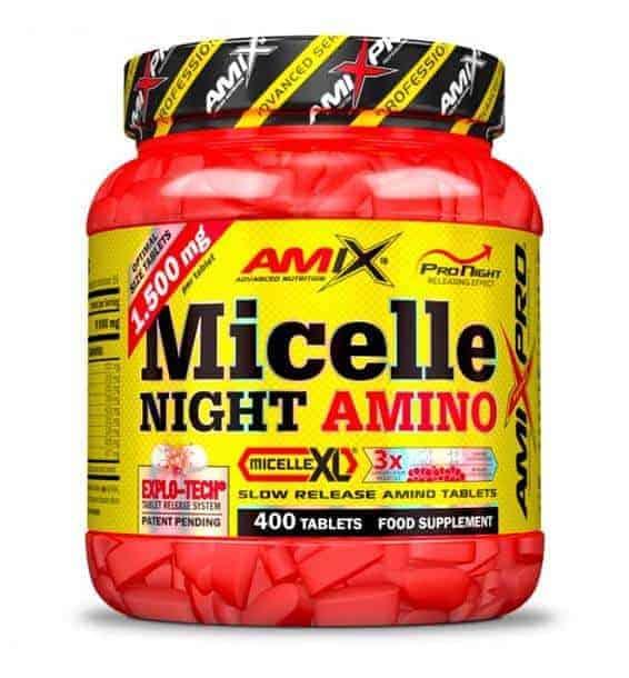 Micelle Night Amino son aminoácidos de amix pro ideales para aumentar la masa muscular en las horas de sueño.