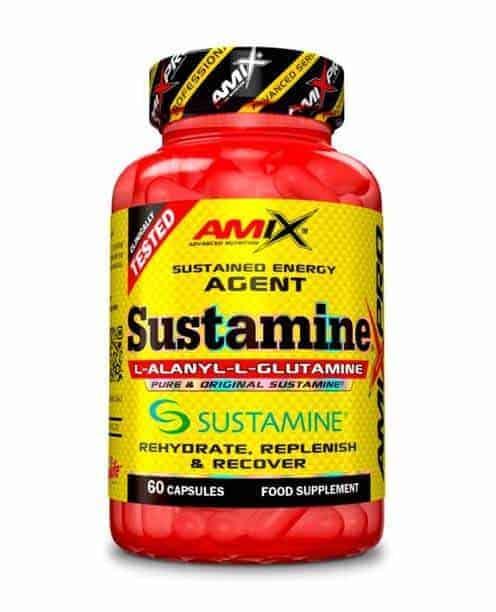 Sustamine de amix pro es una combinación de glutamina y L-Alanina para una mayor recuperación del físico después de entrenar