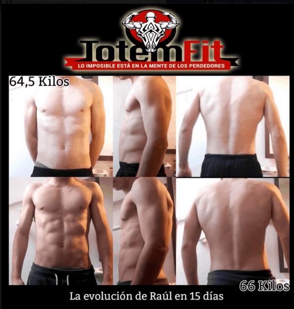Antes y después del físico de nuestro cliente Raul gracias a Totemfit