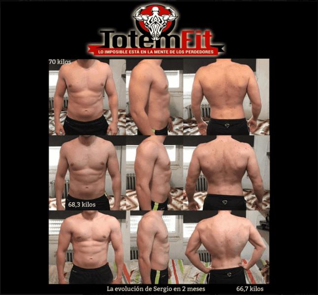 cambio físico del cliente de Totemfit Sergio