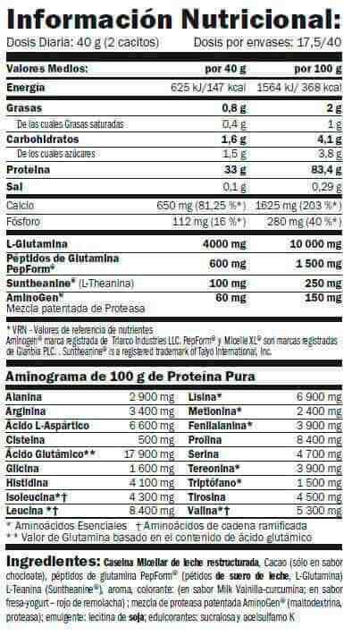 Informacion nutricional Micelle HD Casein de amix pro, una proteina nocturna