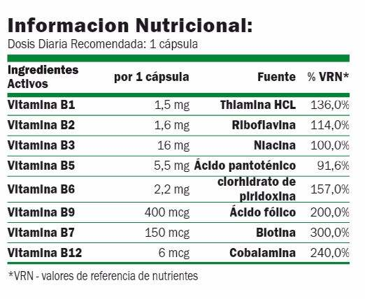 Amix GreenDay vitaminas b-complex-life informacion nutricional