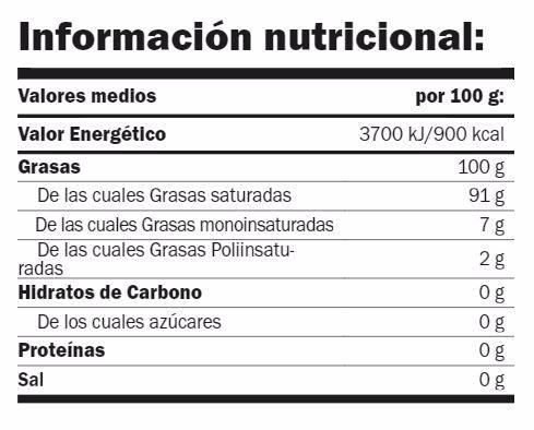 informacion nutricional coconut oil amix mr poppers
