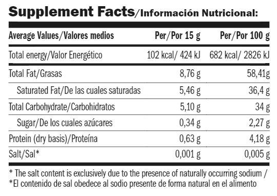 Información nutricional de NocAmix dark chocolate 275 Gr de amix Mr popper's
