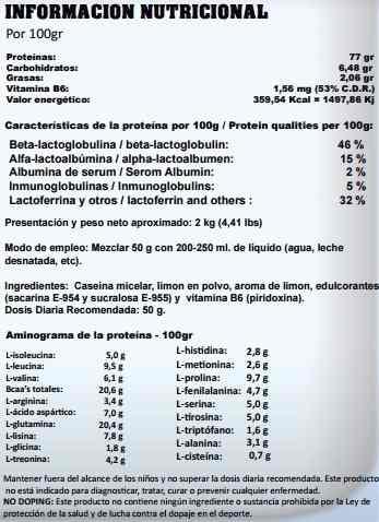 información nutricional casein micellar startpro proteína nocturna