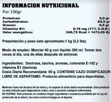 Información nutricional Dextro Tech de startpro dextrosa