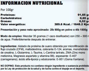 Información Nutricional IsoProtein de StartPro