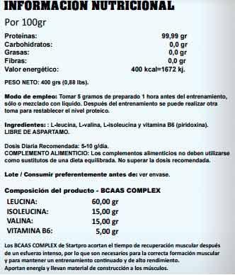 bcaas complex información nutricional