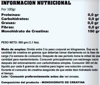 creatine monohydrate startpro de información nutricional
