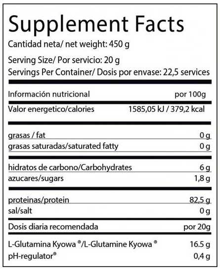 informacion nutricional de big glutamina 450 gr.