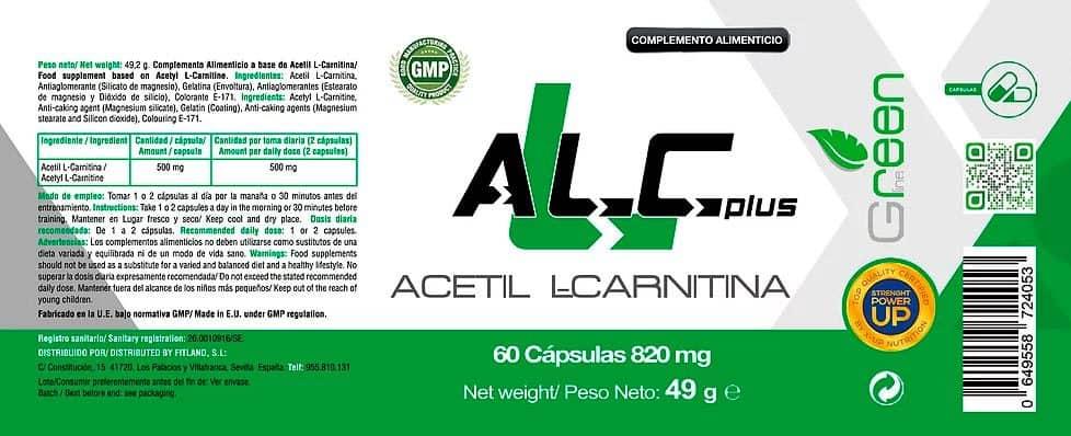 ALC Acetil L Carnitina 60 Caps X UP Green informacion nutricional