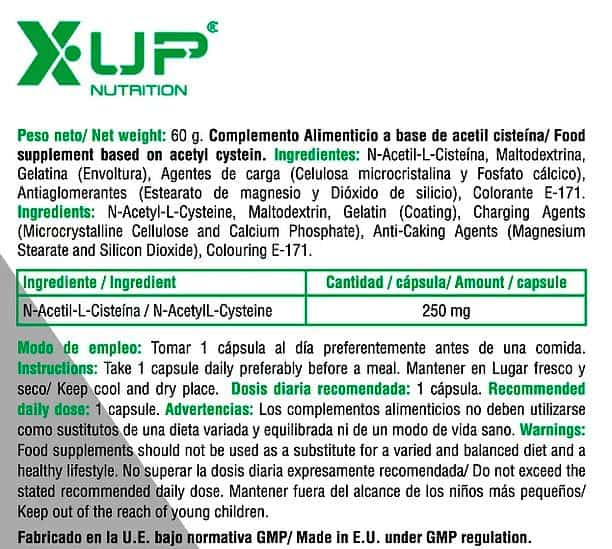 NAC-N-Acetil-L-Cisteina-100-caps-600-mg-X-Up-Green-informacion-nutricional