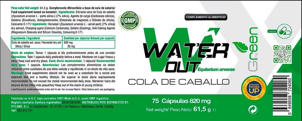 Water Out Cola de caballo 75 caps X UP Green informacion nutricional
