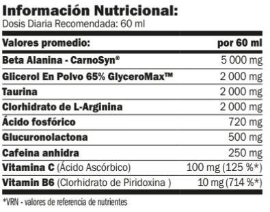 cellup shot 20x60 ml amix pro informacion nutricional