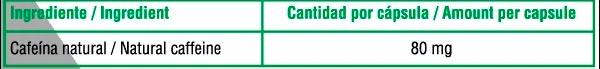 Cafeina Anhidra 90 caps X UP Green informacion nutricional