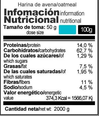 Harina-de-avena-integral-X-UP-Endurance-informacion-nutricional
