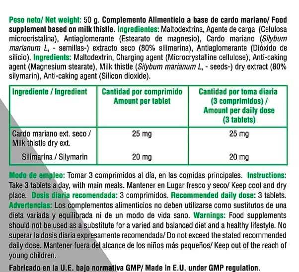 Liver Cardo Mariano 100 caps X UP Green informacion nutricional
