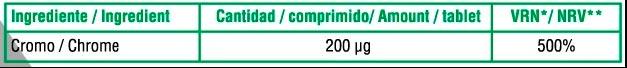 Picolinato de cromo 100 caps X UP Green informacion nutricional
