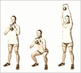 doble kettlebell clean and press